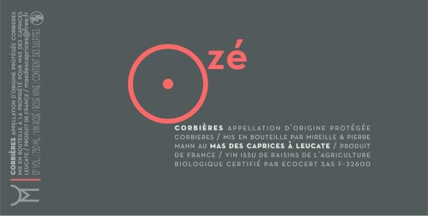 Rosé wine label: Ozé 2014, Mas des caprices