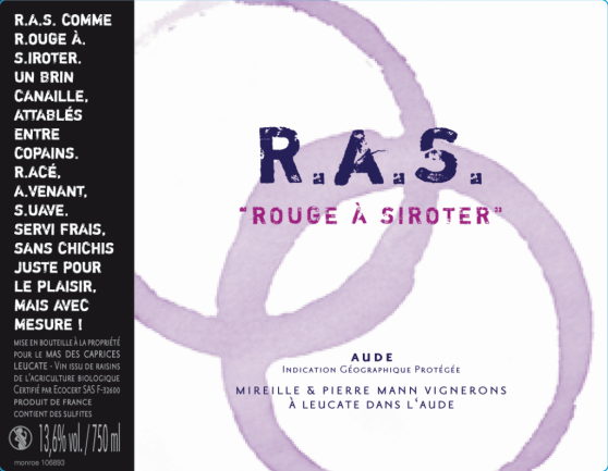 label RAS Rouge à siroter, red wine of mas des caprices